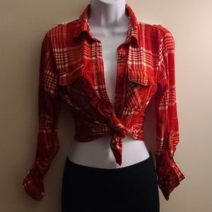 Crochet back red and white flannel